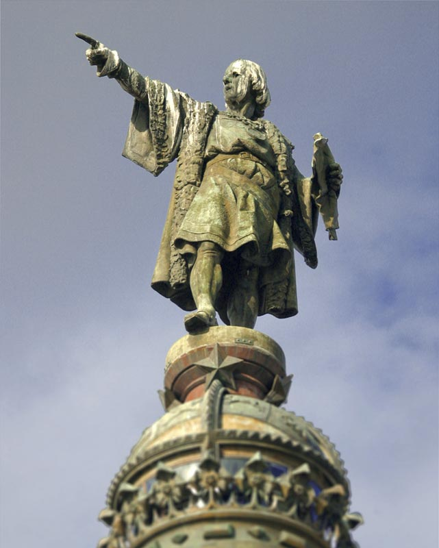 statue of Christopher Columbus in Barcelone, Spain