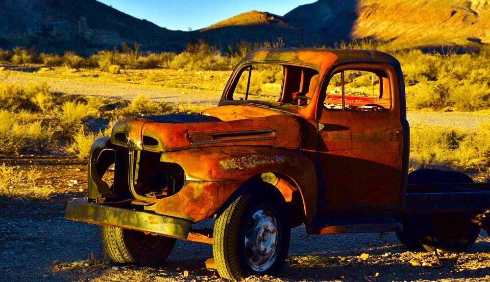 derelict truck in the desert