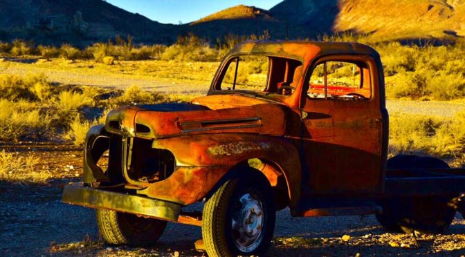 derelict truck in the desert