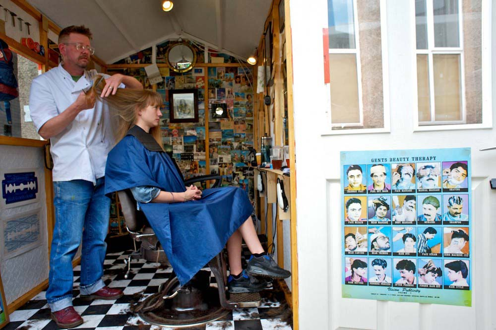 woman with barber