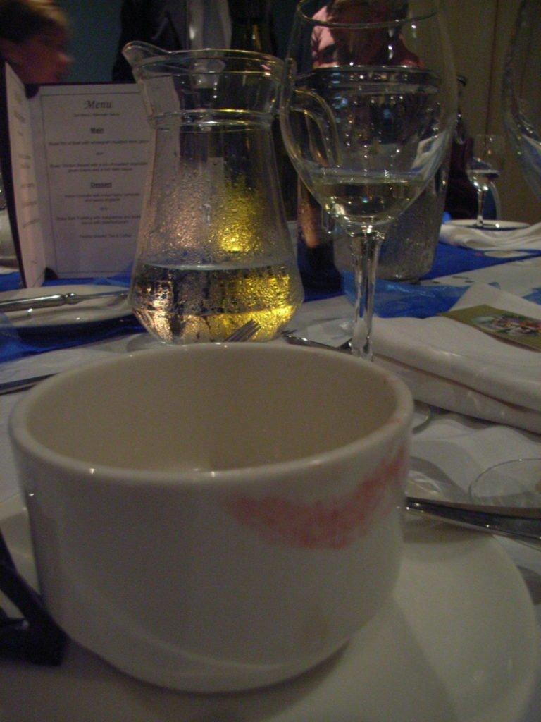 Lipstick print on a mug.