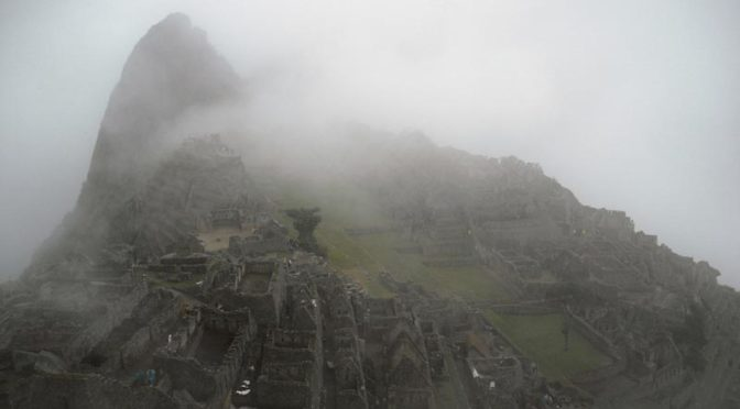 Macchu Pichu covered by clouds