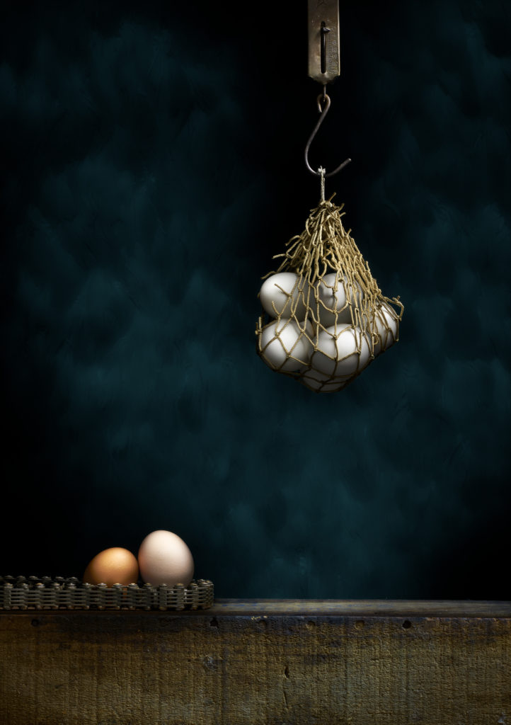 Eggs in a hanging, woven bag