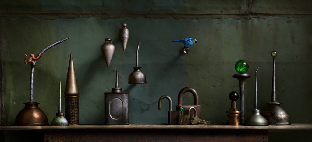 A grouping of oil cans, locks, etc.
