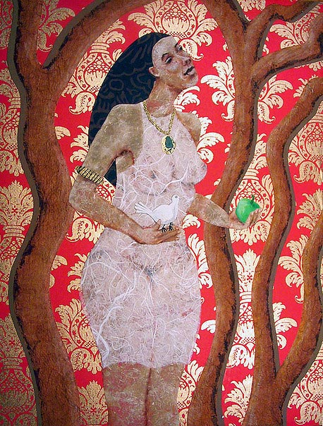 woman holding apple and dove