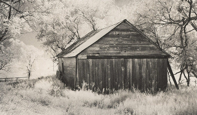 Old wooden garage in the countryside, black and white photo
