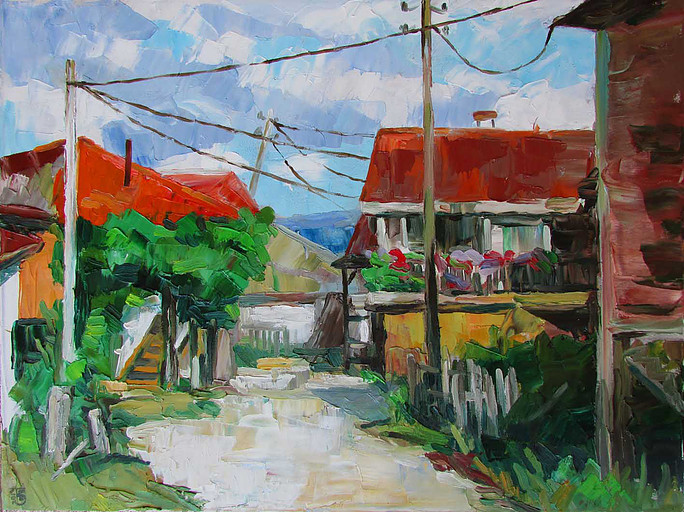 Painting of an old village