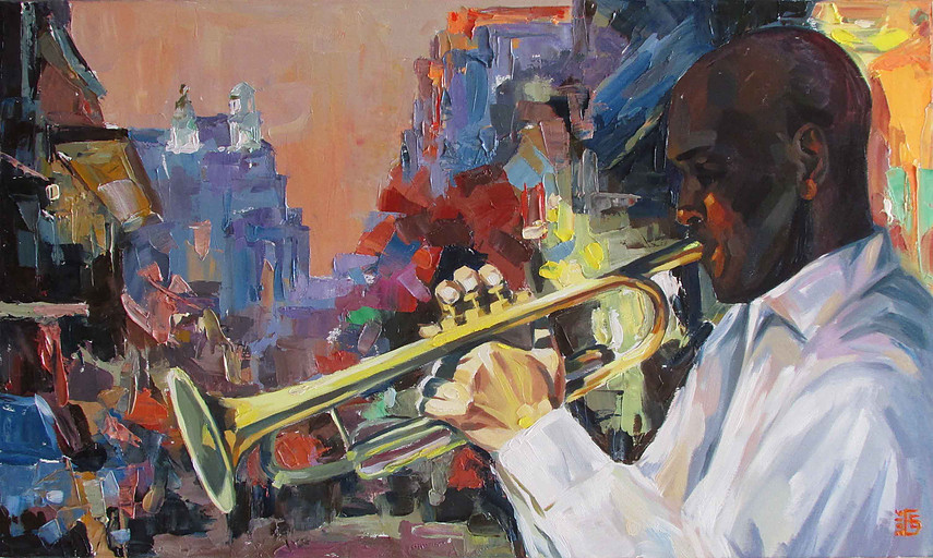 Painting of man playing trumpet