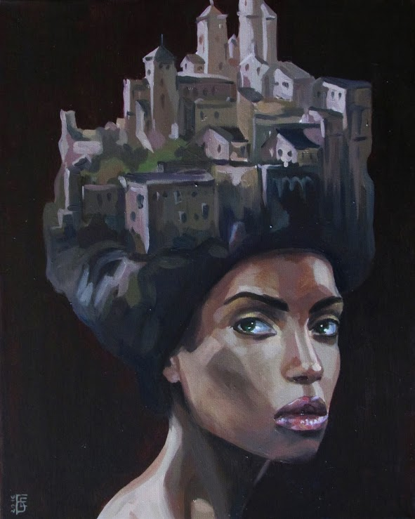 Painting of woman with city on head
