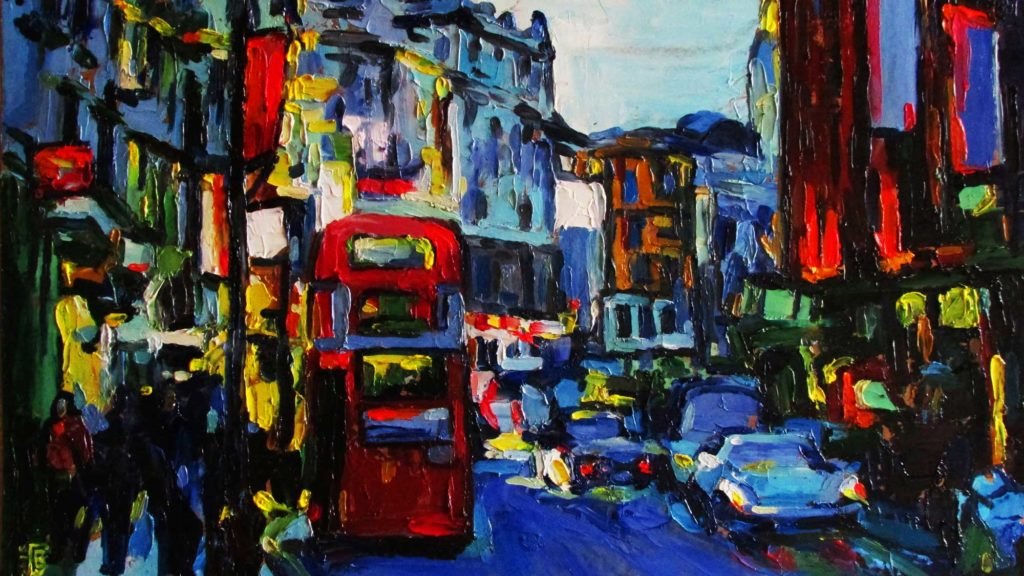 painting of busy street