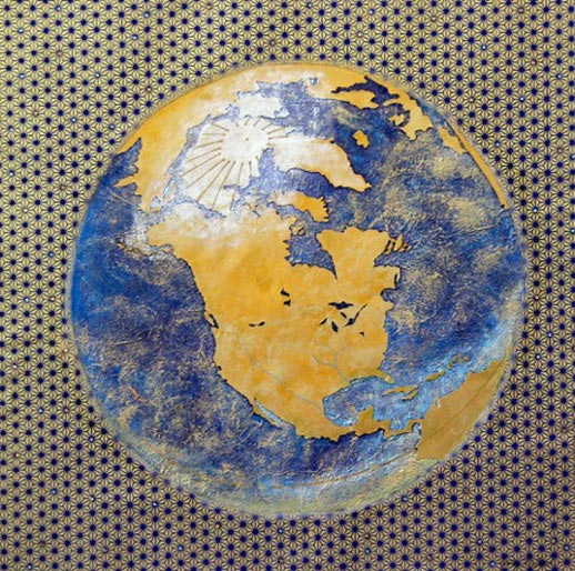 collage of earth on patterned background