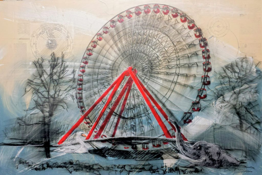 drawing of ferris wheel
