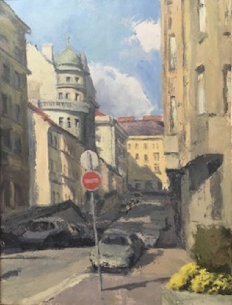 Painting of city street in Vienna