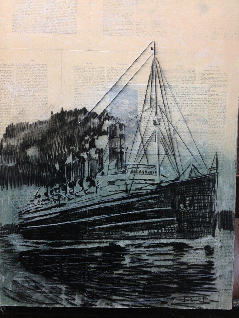 Drawing of steam ship