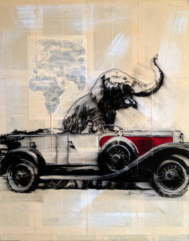 Drawing of man in car in front of elephant