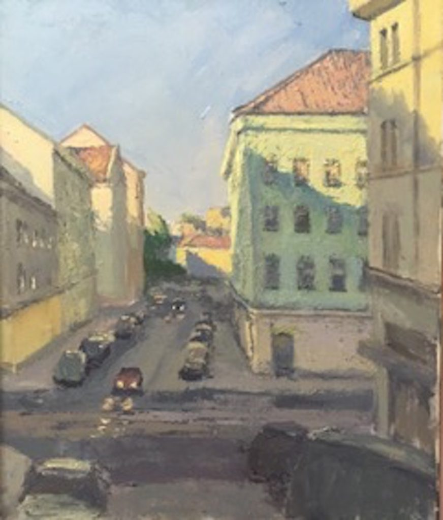 Painting of buildings and cars