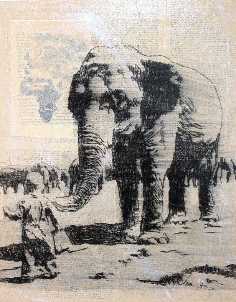 Drawing of child with elephant