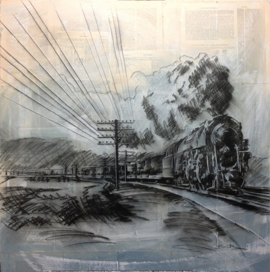 Drawing of train rounding tracks