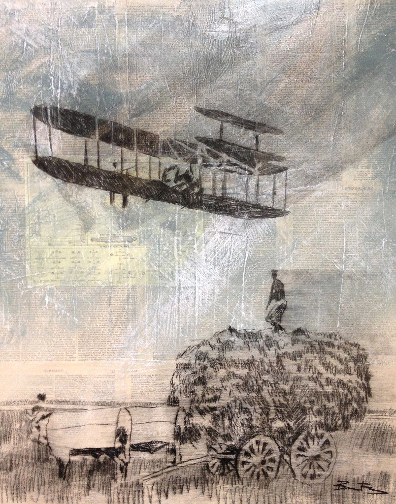 Drawing of old plane flying over field