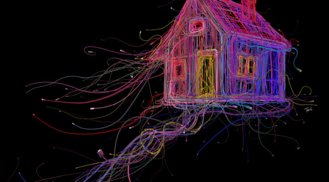 Drawing of a house made from neon wires