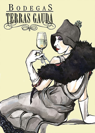 Drawing of rich woman with wine glass