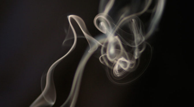 close-up of smoke curls