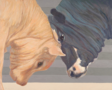 Two cows, head to head, painted