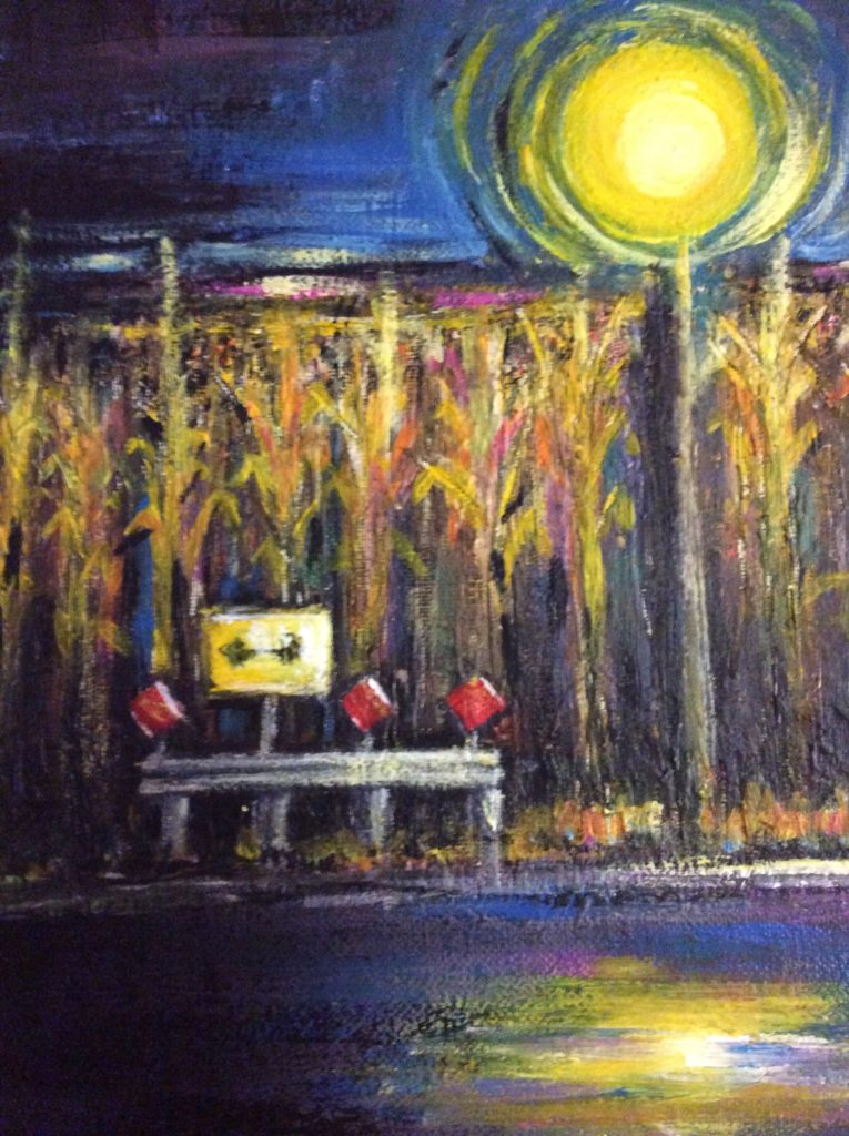 Painting of corn stalks behind caution lights