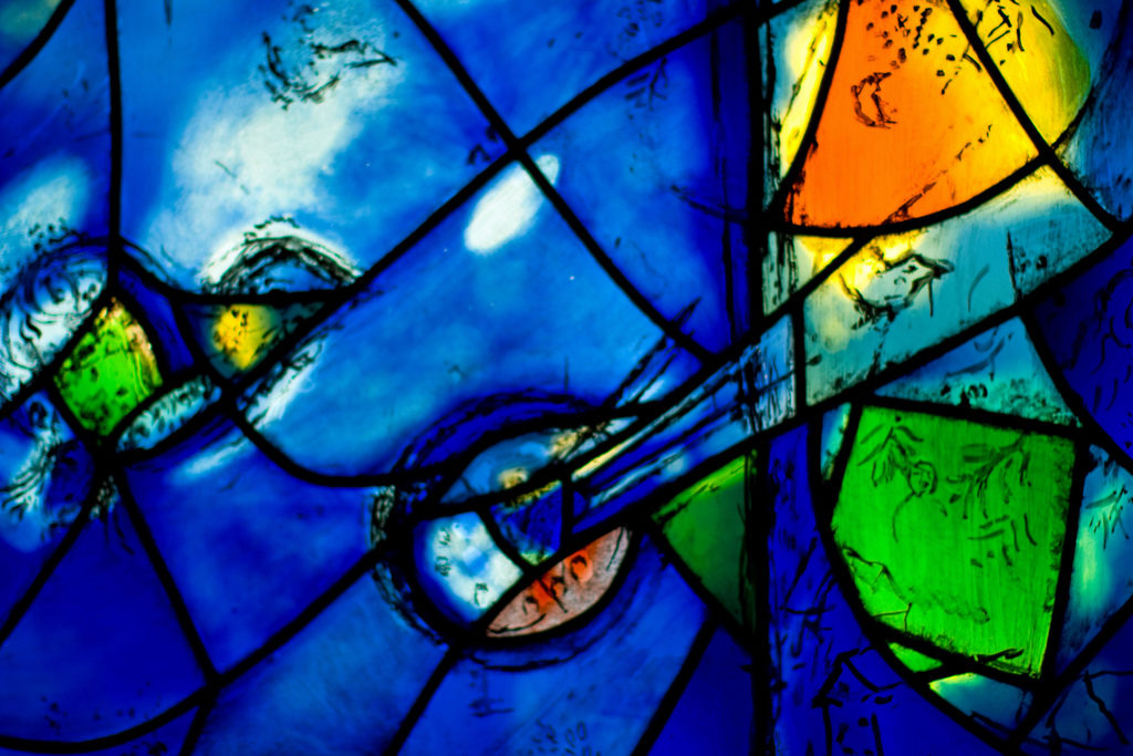 Stained glass window, heavily blue