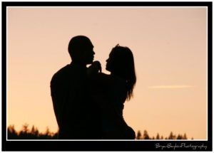 Silhouette of couple in embrace
