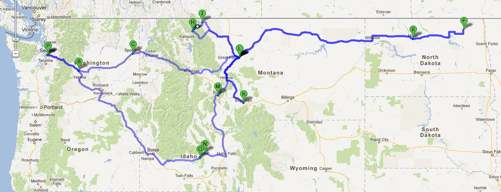 Travel route across NW US