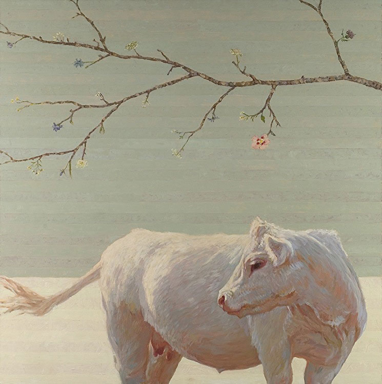 White cow under flowering tree, painted