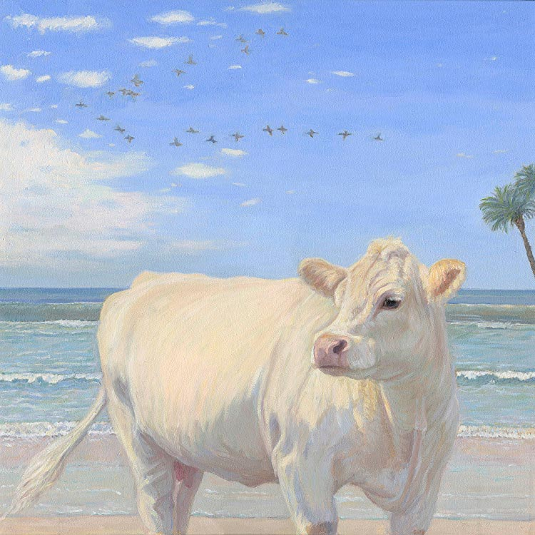 White cow on beach, painted