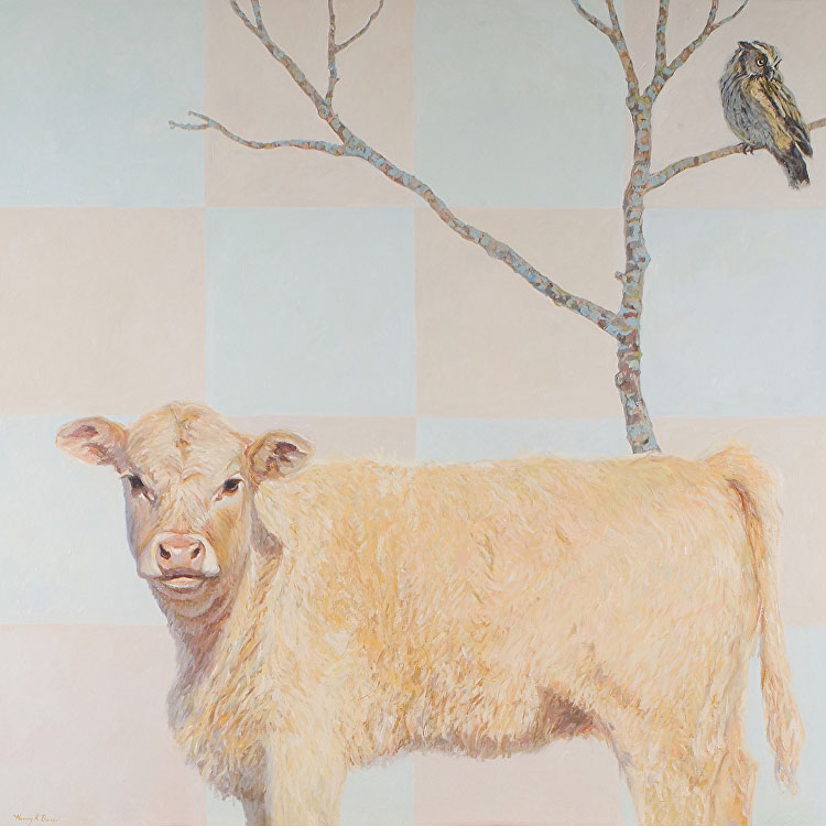 Owl on tree above cow, painted