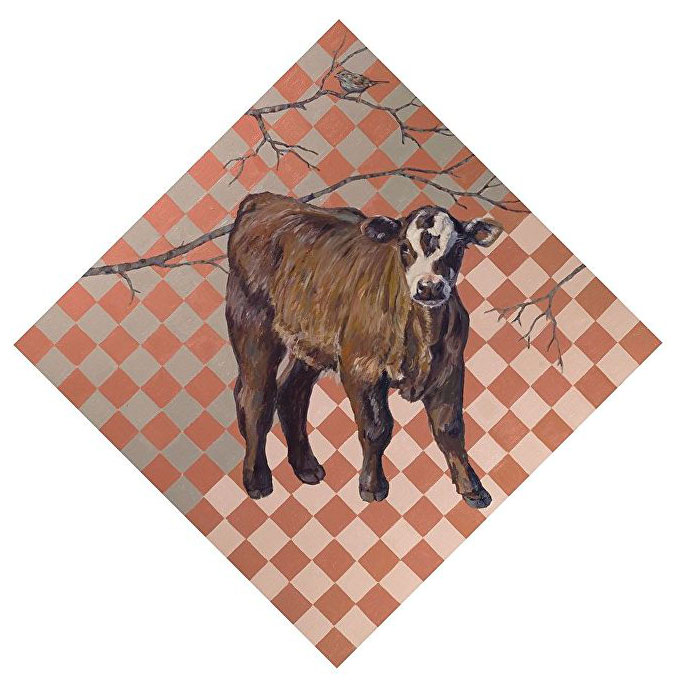 Cow painted on checkered background