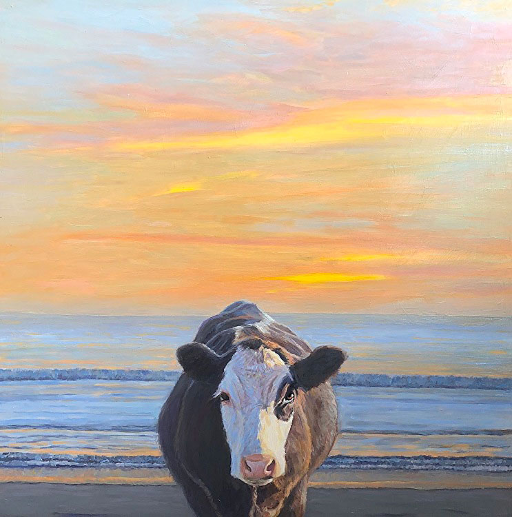 Cow on beach under sunset, painted