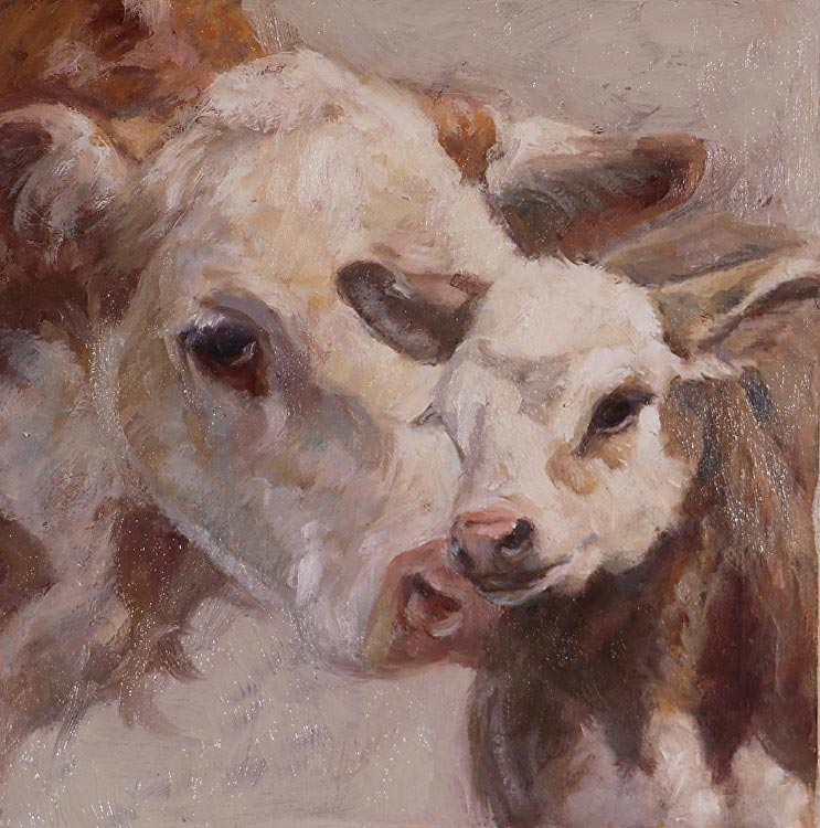 Cow with calf, painted