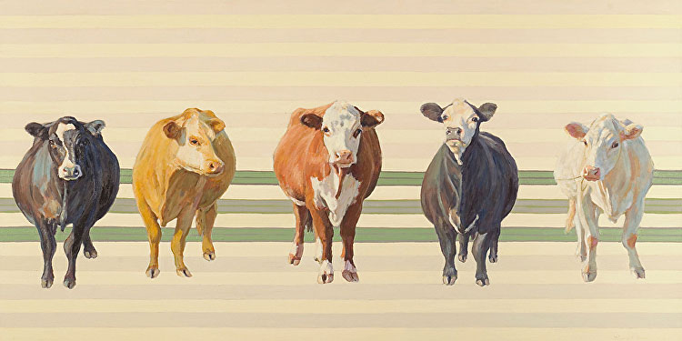 Five cows, painted