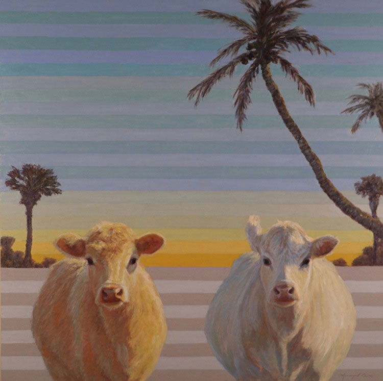 Two cows under palm trees, painted