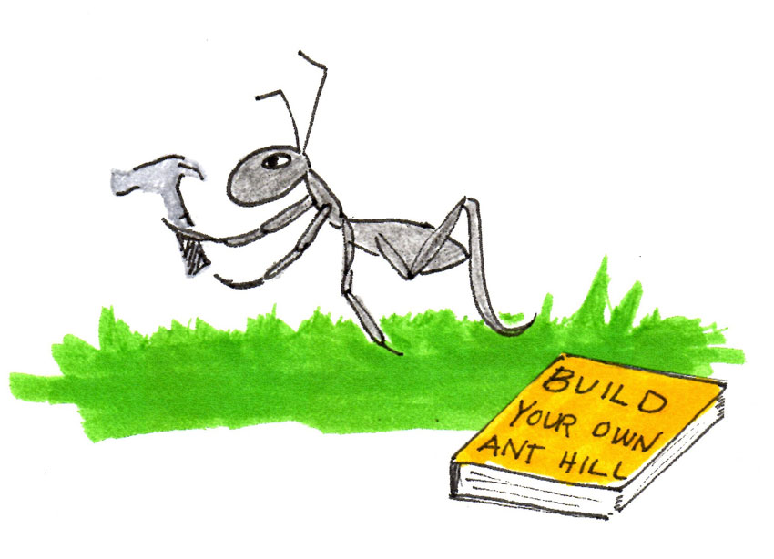 cartoon of ant with costruction book and hammer