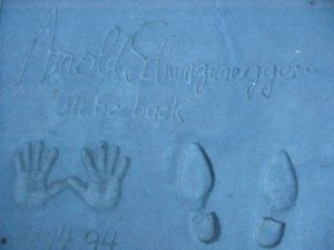 Arnold Schwazenegger's hand and feet prints