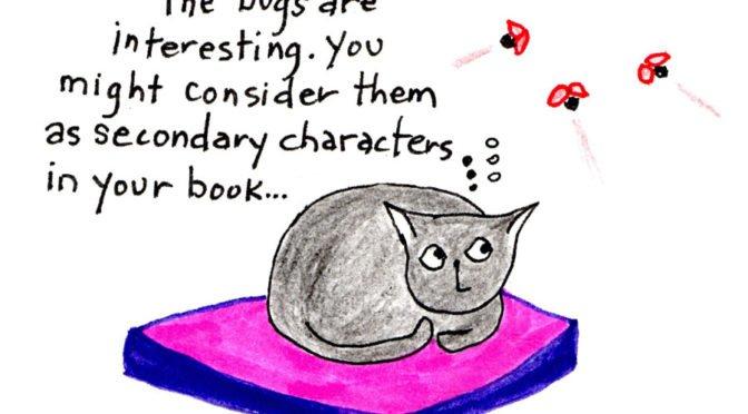 cartoon of cat watching ladybugs