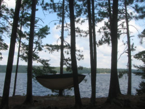 Hammock among trees by water