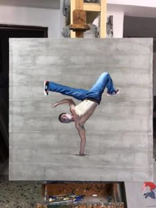 Painting of B-boy dancing
