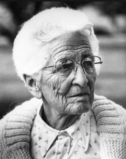 Old woman in black and white