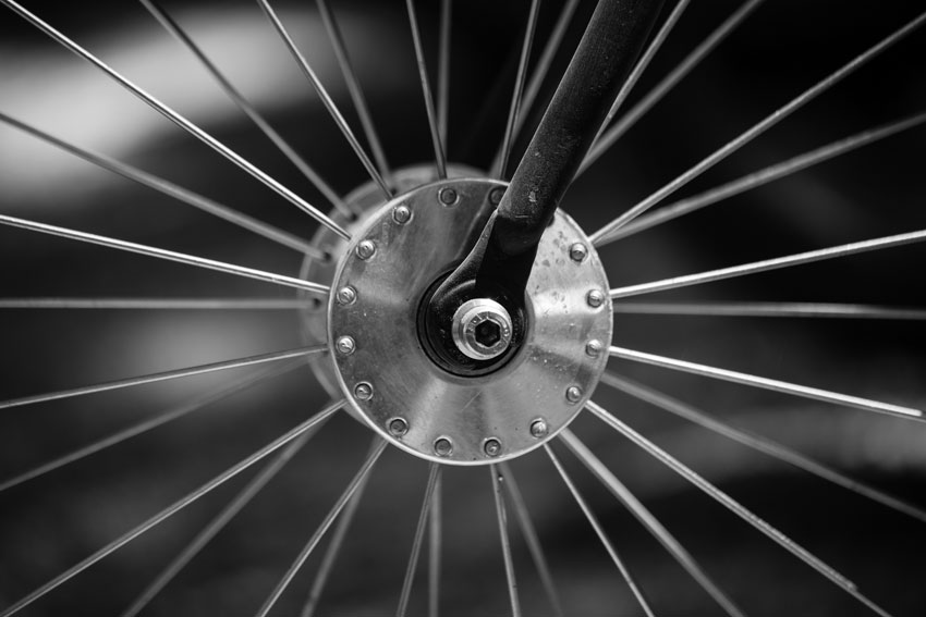 Bicycle wheel hub and spokes