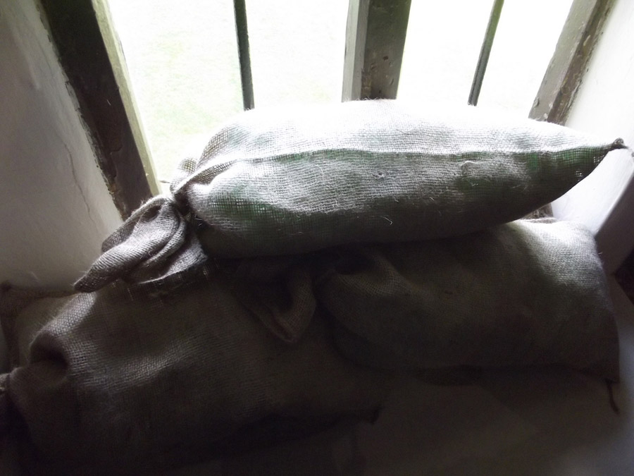 Sandbags in front of window