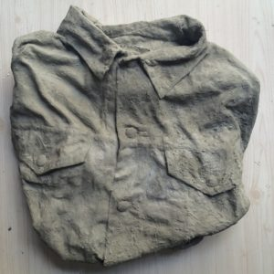 Button up shirt molded with concrete