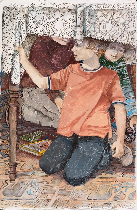 painting of three children playing under a dining table