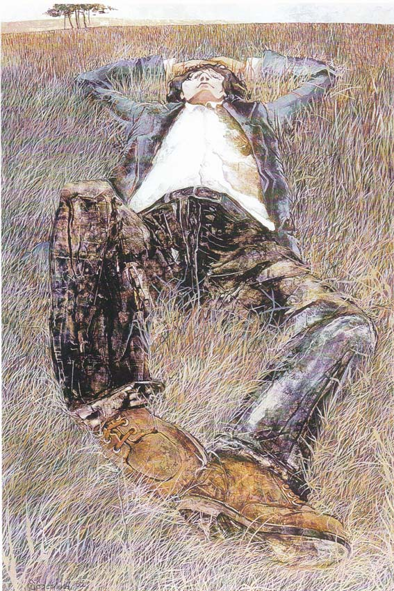 painting of a man reclining in wide field of grass